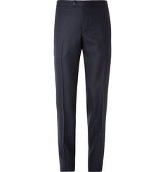 Thom Sweeney Navy Slim-Fit Textured-Wool Trousers