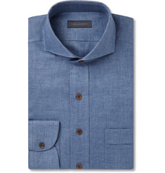 Thom Sweeney - Blue Slim-Fit Cutaway-Collar Herringbone Linen Shirt