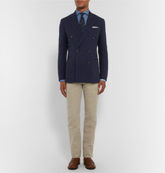 Thom Sweeney Blue Slim-Fit Cutaway-Collar Herringbone Linen Shirt