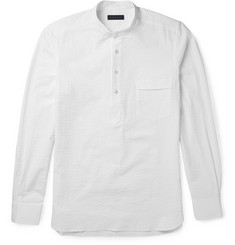 Thom Sweeney - Slim-Fit Grandad-Collar Cotton-Seersucker Shirt