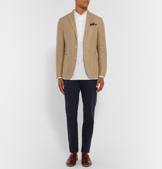Thom Sweeney Slim-Fit Grandad-Collar Cotton-Seersucker Shirt