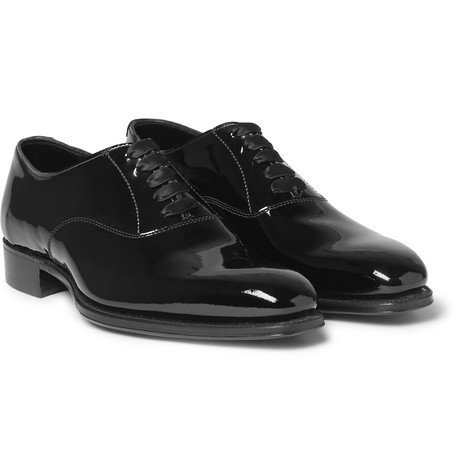 + George Cleverley Patent-leather Oxford Shoes - Black
