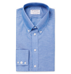 Kingsman - + Turnbull & Asser Blue Slim-Fit Cotton and Linen-Blend Shirt