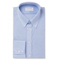 Kingsman - + Turnbull & Asser Blue Slim-Fit Button-Down Collar Cotton-Piqué Shirt