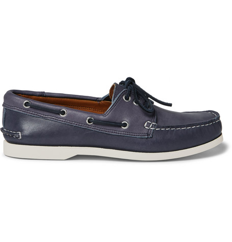 QUODDY Downeast Leather Boat Shoes in Navy