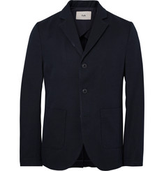Folk Blue Unstructured Cotton-Blend Twill Blazer