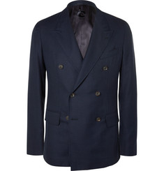 Caruso Navy Double-Breasted Wool-Hopsack Blazer