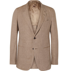 Caruso Tan Slim-Fit Linen Blazer