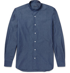 Caruso Grandad-Collar Cotton Shirt