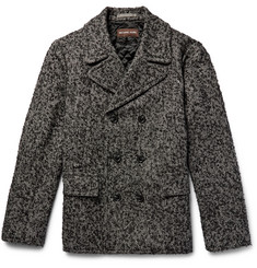 Michael Kors Double-Breasted Herringbone Slub Wool-Blend Peacoat