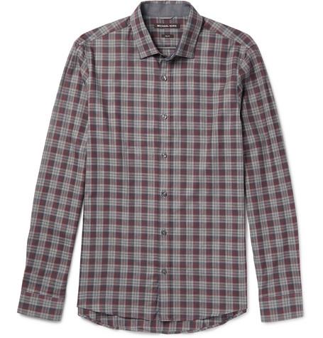 michael kors male 215965 michael kors reece slimfit checked cotton shirt burgundy
