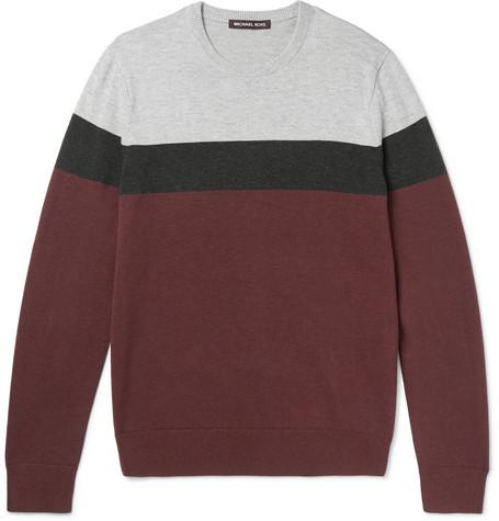 michael kors male 215965 michael kors striped woolblend sweater burgundy