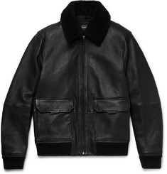 Michael Kors Shearling-Trimmed Full-Grain Leather Bomber Jacket