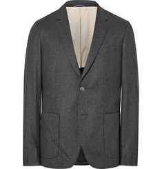 Gant Rugger Grey De Luxe Mélange Wool-Flannel Suit Jacket