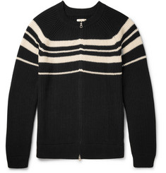Gant Rugger Striped Ribbed Cotton Zip-Up Cardigan