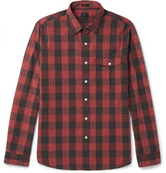 J.Crew Buffalo-Checked Slub Cotton Shirt