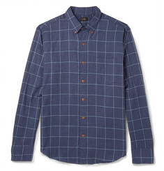 J.Crew Windowpane-Checked Brushed-Cotton Twill Shirt