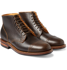 Viberg - Brogue-Detailed Leather Lace-Up Boots
