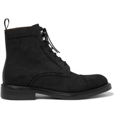 O'Keeffe Felix Pebble-Grain Suede Brogue Boots