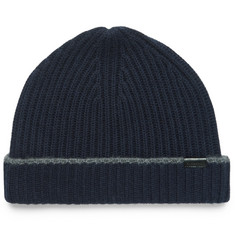 Burberry Contrast-Tipped Ribbed Cashmere Beanie