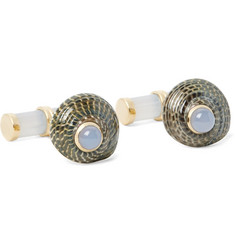 Trianon 18-Karat Gold, Shell and Chalcedony Cufflinks