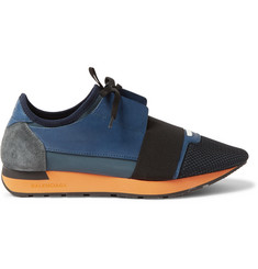 Balenciaga Suede-Trimmed Mesh, Leather and Neoprene Sneakers