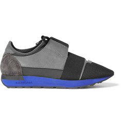 Balenciaga Neoprene, Leather and Mesh Sneakers