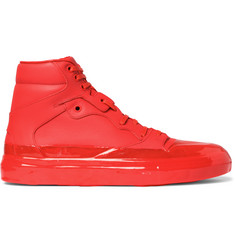 Balenciaga Rubberised-Leather High-Top Sneakers