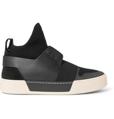 Balenciaga Suede, Leather and Mesh High-Top Sneakers