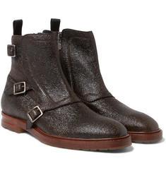Alexander McQueen - Grained-Leather Monk-Strap Boots