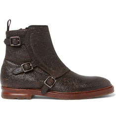 Alexander McQueen Grained-Leather Monk-Strap Boots
