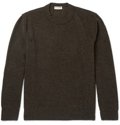 Balenciaga Distressed Wool and Cotton-Blend Sweater