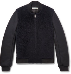 Balenciaga Shearling-Panelled Wool-Blend Bomber Jacket