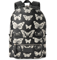 Alexander McQueen Leather-Trimmed Moth-Print Twill Backpack