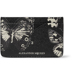 Alexander McQueen Moth-Print Pebble-Grain Leather Cardholder