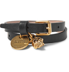 Alexander McQueen Leather And Burnished Gold-Tone Skull Wrap Bracelet