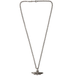 Alexander McQueen Moth Burnished Silver-Tone Necklace