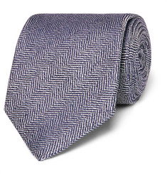 Kingsman - + Drake's Herringbone Silk and Linen-Blend Tie