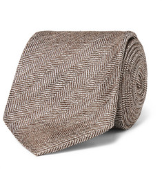 Kingsman + Drake's 8cm Herringbone Silk and Linen-Blend Tie