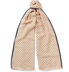 Kingsman - + Drake's Polka-Dot Cotton and Silk-Blend Scarf