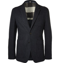 Burberry Blue Herringbone Wool Blazer
