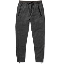 Burberry Slim-Fit Tapered Leather-Trimmed Wool-Blend Sweatpants