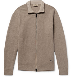 Burberry London Honeycomb-Knit Wool and Cashmere-Blend Zip-Up Cardigan