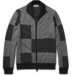 Burberry Jacquard-Knit Cashmere and Cotton-Blend Zip-Up Cardigan