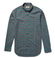 Burberry Slim-Fit  Button-Down Collar Checked Cotton Shirt