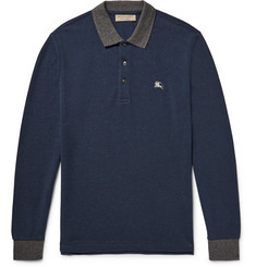 Burberry Slim-Fit Contrast-Trimmed Cotton-Piqué Polo Shirt