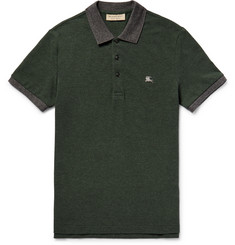 Burberry Slim-Fit Two-Tone Cotton-Piqué Polo Shirt
