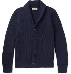 Burberry - Shawl-Collar Ribbed Wool and Silk-Blend Cardigan