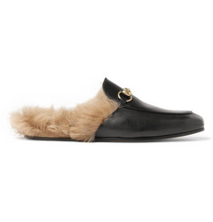Gucci Princetown Shearling-Lined Leather Slippers