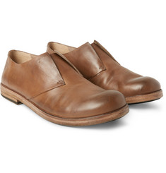 Marsell - Washed-Leather Slip-On Derby Shoes